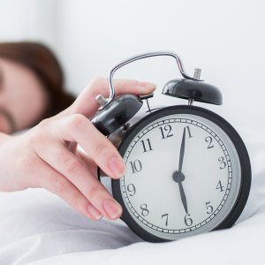 woman wake up in bed